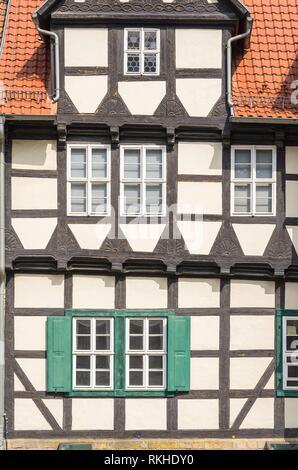 Klopstock Museum und typischen Fachwerkhaus am Schlossberg in Quedlinburg, Sachsen-Anhalt, Deutschland. - Stockfoto