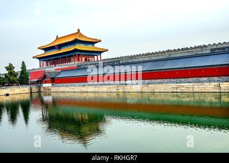 Hinteres Gatter himmlische Reinheit Gugong Verbotene Stadt Graben Canal Plaace Wand Beijing China. Der Kaiserpalast in den 1600er Jahren in der Ming Dynastie errichtet. - Stockfoto