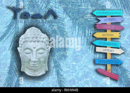 Yoga design Wort mit Figuren in Posen, schlafenden Buddha Kopf und acht Holz Schilder mit dem achtfachen Pfad des Buddha auf blauen Pool Mosaik Textur. - Stockfoto