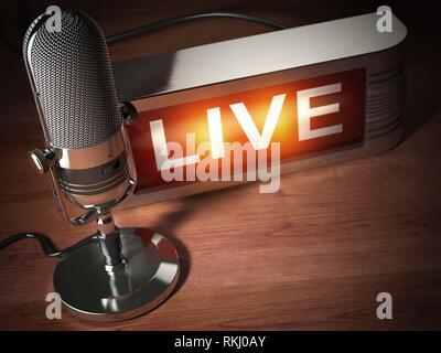 Vintage Mikrofon mit Namensschild leben. Rundfunk Radio Station Konzept. 3D-Darstellung. - Stockfoto