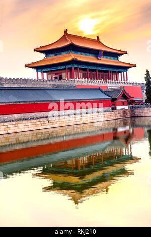Hinteres Gatter himmlische Reinheit Gugong Verbotene Stadt Graben Canal Palace Wall Beijing China. Der Kaiserpalast in den 1600er Jahren in der Ming Dynastie errichtet. - Stockfoto