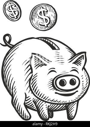 Sparschwein und Münzen, Skizze. Kässeli, Cashback, Geschäftskonzept. Hand Vector Illustration gezeichnet - Stockfoto