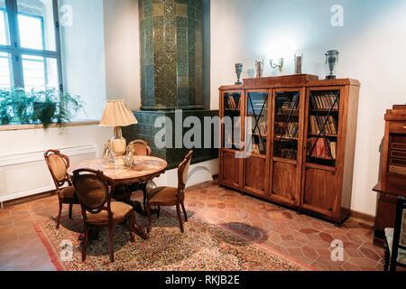 Mir, Belarus-Am 1. September 2016: Bibliothek des Prinzen Michail Svyatopolk-Mirsky und Ausstellung im Schloss Komplex Museum. Das Wahrzeichen der Stadt, - Stockfoto