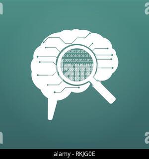 Platine menschliche Gehirn. Konzept Abbildung: cpu im Zentrum von computer system. Matrix in Lupe. Vektor illystration auf m isoliert - Stockfoto