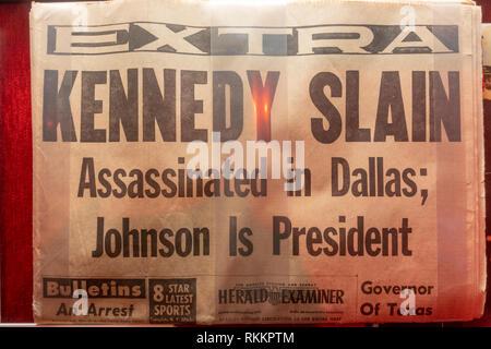 Herald Examiner (Los Angeles) nach der Ermordung von John F Kennedy, der Pöbel Museum, Las Vegas (Las Vegas), Nevada, United States. - Stockfoto