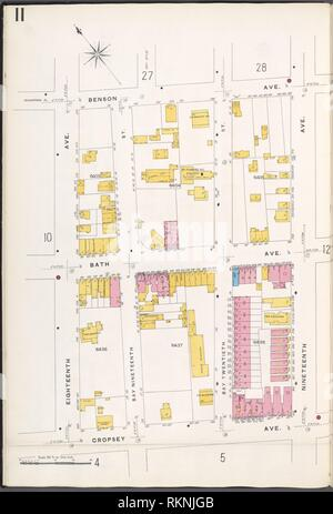 Brooklyn V. 12, Teller Nr. 11 [ Karte von Benson Ave., 19. Ave., cropsey Ave., 18. Ave.]. Sanborn Map Company (Publisher). Atlanten von New York