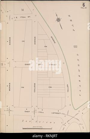 Bronx, V. 15, Platte Nr. 6 [Map von E.172nd St., Teller Ave., E.170th St., Morris Ave] begrenzt. Sanborn Map Company (Publisher). Atlanten von New York - Stockfoto