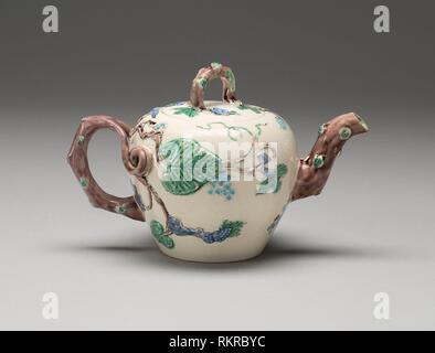 Teekanne - 1750/55 - England, Staffordshire- Herkunft: Staffordshire, Datum: 1750 - 1755, Mittel: Salz - glasiert Steinzeug mit mehrfarbigem führen, Glasuren, - Stockfoto