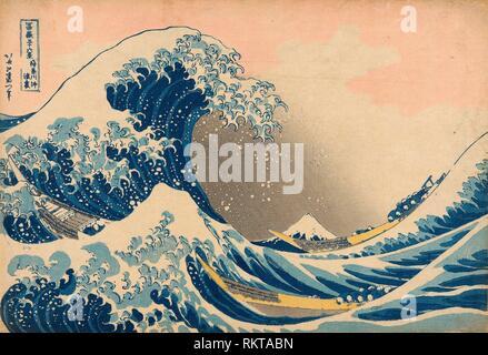 Unter der Welle von Kanagawa (Kanagawa oki Nami ura), die auch als die große Welle, aus der Serie ''30 bekannt - sechs Blick auf Mount Fuji (Fugaku - Stockfoto