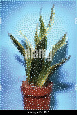 Sansevieria, Schlange Werk, in Punkte Vector Illustration - Stockfoto