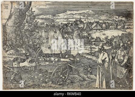 Landschaft mit Cannon - 1518 - Albrecht Dürer Deutsch, 1471-1528 - Künstler: Albrecht Dürer, Herkunft: Deutschland, Datum: 1518, Medium: Radierung in Schwarz auf - Stockfoto