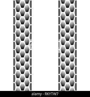 Schwarz blended Linien nahtlose Reifenspur auf weißem Hintergrund - Stockfoto