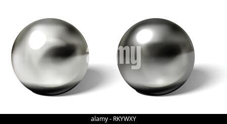 Set aus Stahl oder silber Kugeln mit Schatten von unten realistisch Vektor auf weißem Hintergrund. Glänzende, metallische Kugeln mit Reflexionen auf Chrom - Stockfoto