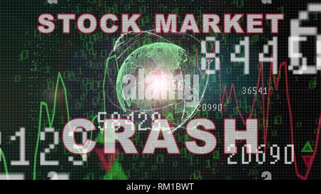 Börsencrash text auf Börse Graph mit Balkendiagramm preis Anzeige, Handel, Balken - Stockfoto
