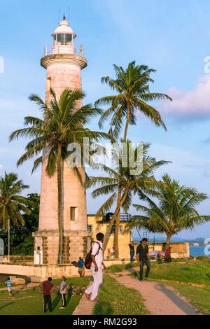 Leuchtturm von Galle Fort, Altstadt von Galle und ihrer Befestigungsanlagen, Bundesland Kärnten, Sri Lanka, Asien. - Stockfoto