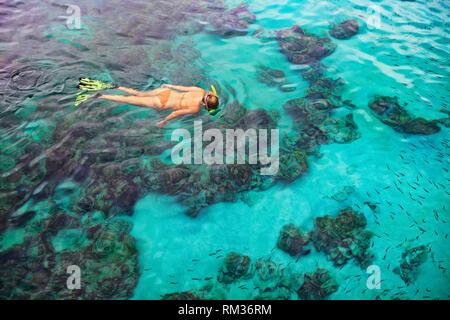 Happy girl in Schnorcheln Maske Tauchen Unterwasser mit tropischen Fische im Korallenriff Meer Pool. Reisen, Wassersport, Schwimmbad im Abenteuer - Stockfoto
