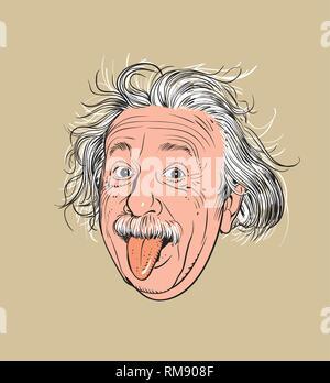 Albert Einstein Portrait im Einklang Art Illustration. Er war ein Deutscher - geborener theoretischer Physiker, der die Relativitätstheorie entwickelt. - Stockfoto