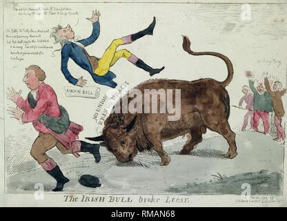 """Die irische Bulle brach - Drucken zeigt die """"Irische Bull"""" werfen William Pitt in die Luft und über das Gleiche zu Herrn Dundas, die auf der linken Seite läuft, zu tun; ganz rechts, die Pitt's 'Union Bill"""" jubeln auf dem Stier entgegen, """"gehen Sie, mein Junge."""" Politische Karikatur, 1799 - Stockfoto"""
