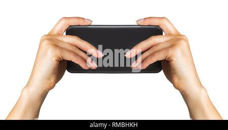 Women's Hand, schwarz Smartphone, Konzept, Foto oder selfie - Stockfoto