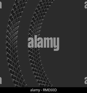 Dunkle Reifenspur Silhouette mit/-Linien auf schwarzem Hintergrund - Stockfoto