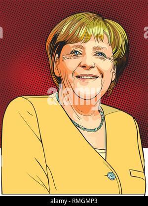 Angela Merkel Portrait im Einklang Art Illustration. Sie ist eine Deutsche Politiker und der Bundeskanzler der Bundesrepublik Deutschland. - Stockfoto