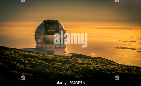 Grantecan Teleskop bei Sonnenuntergang, Insel La Palma - Stockfoto