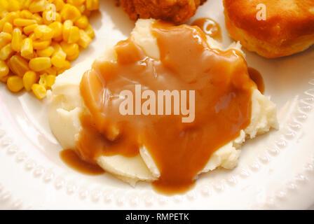 Kartoffelpüree & Braune Soße - Stockfoto