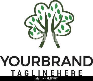 Baum Hand gezeichnet Logo Logo, Kinder die Schule, Lernen und Bildung Design Konzept Vorlage - Stockfoto