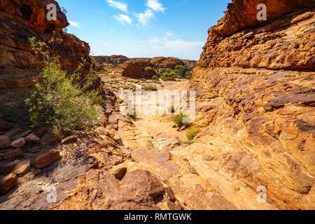 Wandern in Kings Canyon an einem sonnigen Tag, Watarrka National Park, Northern Territory, Australien - Stockfoto