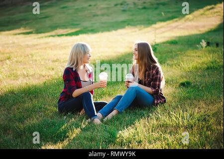 Freunde haben Spaß im Park und trinken Smoothies zu einem Picknick. - Stockfoto