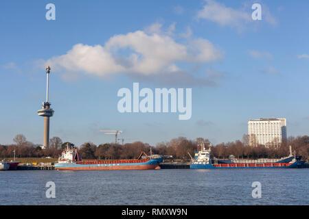 Blick auf euromast und Stadtbild von Rotterdam aus dem River Bank an sonnigen Oktobertag - Bild - Stockfoto