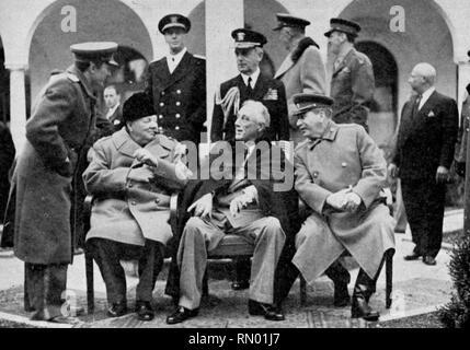 Die Konferenz von Jalta (alias Krim Konferenz & Argonaut Konferenz), vom 4. bis 11. Februar 1945 statt. Es war ein Weltkrieg Treffen zwischen Präsident Franklin D. Roosevelt, Premierminister Winston Churchill und Premier Joseph Stalin. Die Konferenz einberufen, in der Nähe von Jalta, Krim, Sowjetunion. - Stockfoto