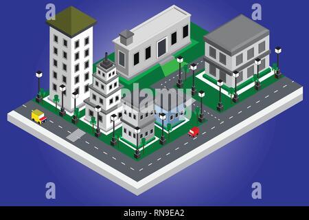 Smart City isometrische moderner Gebäude Konzept auf das Zentrum im Stadtbild, intellinggent Design und Entwicklung der Grafik vektor Illustration backgr