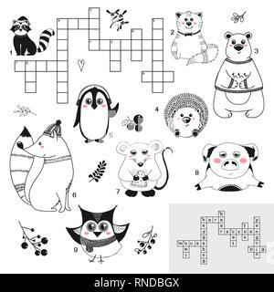 Kreuzworträtsel. Bildung Spiel für Kinder mit verschiedenen Tieren. Vector Illustration in Skizze Stil - Stockfoto