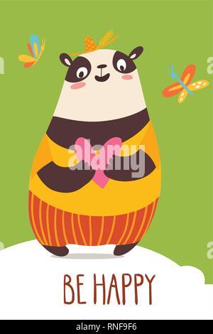 Cute Vector happy Card mit lustig Panda. - Stockfoto