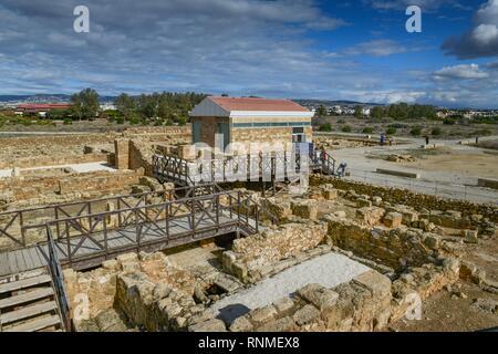 Haus des Theseus, hinter dem Haus des Aion, Ausgrabungen, archäologische Park, Alt-Paphos, Zypern - Stockfoto