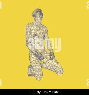 Man niederknien und beten zu Gott. 3D-Modell des menschlichen Körpers. Design Element. Vector Illustration. - Stockfoto