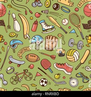 Sport nahtlose Muster. Symbole doodle Stil. Ausrüstung für Fitness und Training. Symbole für Gesundheit und Aktivität. Tennis und Fußball, Basketball. Spiele - Stockfoto