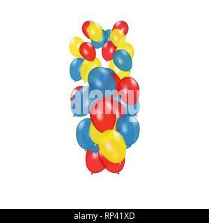 Farbe Zusammensetzung der Vektor realistische Ballons auf weißem Hintergrund. Luftballons isoliert. Zum Geburtstag Grußkarten oder andere Designs - Stockfoto