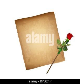 Alte Grungy Papier abgenutzt Textur und sehr detaillierte Rote Rose auf langem Stiel isoliert auf weißem Hintergrund. Valentines Tag Karte. Abgenutzte Pergament, Papyrus, Co - Stockfoto