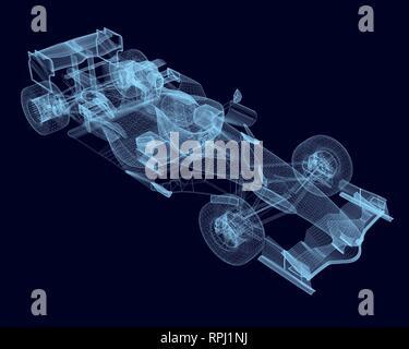 Drahtmodell detaillierte Rennwagen der blauen Linien. Polygonale Rennwagen. 3D. Isometrische Ansicht. Vector Illustration. - Stockfoto