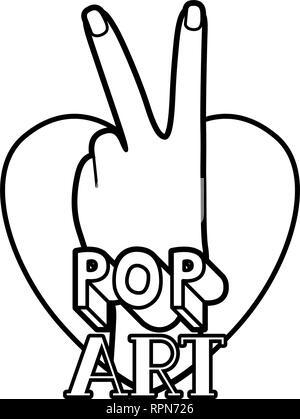 Hand mit Frieden und Liebe pop art - Stockfoto