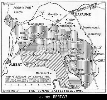 Die Somme Schlachtfeld, 1916. Die Schlacht an der Somme, auch als der Somme Offensive bekannt, war eine Schlacht des Ersten Weltkrieges durch die Armeen des Britischen Empire und der Französischen Dritten Republik gegen das Deutsche Reich gekämpft. Es fand zwischen dem 1. Juli und 18. November 1916. - Stockfoto