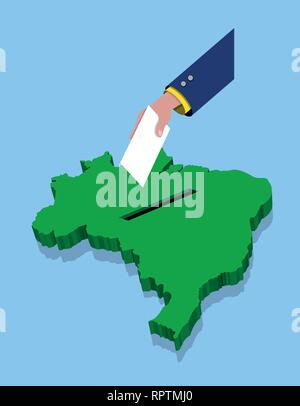 Abstimmung für brasilianische Wahl über eine Brasilien Karte. Alle Objekte, Schatten und Hintergrund sind in verschiedenen Schichten. - Stockfoto