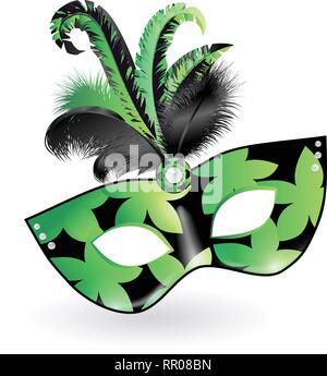 Karneval Maske mit Grün Schwarz Lila Federn auf weißem Hintergrund. Happy Karneval festliche Konzept. Vector Illustration. Mardi Gras - Stockfoto