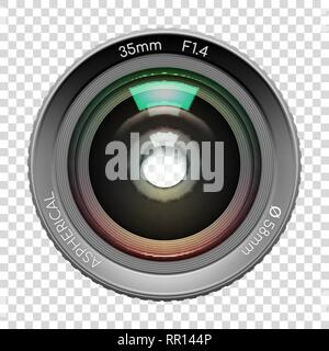 Sehr detaillierte Video- oder Fotokamera Objektiv 35 mm gibts Nahaufnahme Bild, n transparenten Hintergrund. Vector Illustration - Stockfoto