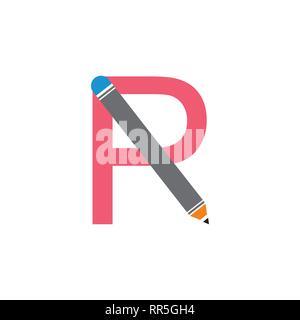 Buchstabe p r Bleistift Bildung Symbol logo Stockfoto
