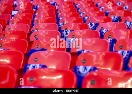LONDON, UK, 24. Februar allgemeine Ansicht der Sitzplätze im Wembley während der carabao Pokalspiel zwischen dem FC Chelsea und Manchester City im Wembley Stadion, London am Sonntag, 24. Februar 2019. (Credit: Alan Hayward | MI Nachrichten) Credit: MI Nachrichten & Sport/Alamy leben Nachrichten - Stockfoto