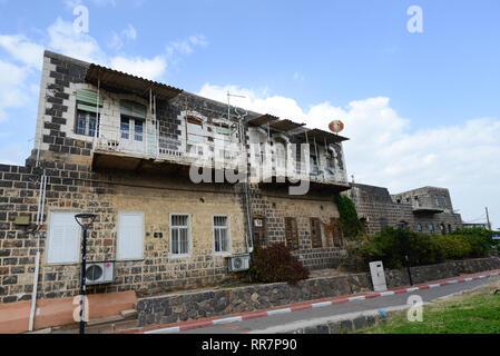Ein wunderschönes altes Gebäude auf Tager Straße in Tiberias. - Stockfoto