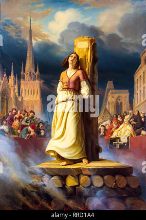Jeanne d'Arc auf dem Scheiterhaufen den Tod, 1843, Gemälde von Hermann Stilke - Stockfoto